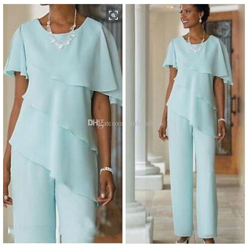 92fb0aa982f 2018 Mother Of The Bride Dresses Pants Suits Wedding Guest Dress Silk  Chiffon Short Sleeve Tiered Mother Of Bride Pant Suits Custom Made Mother  Of The Groom ...
