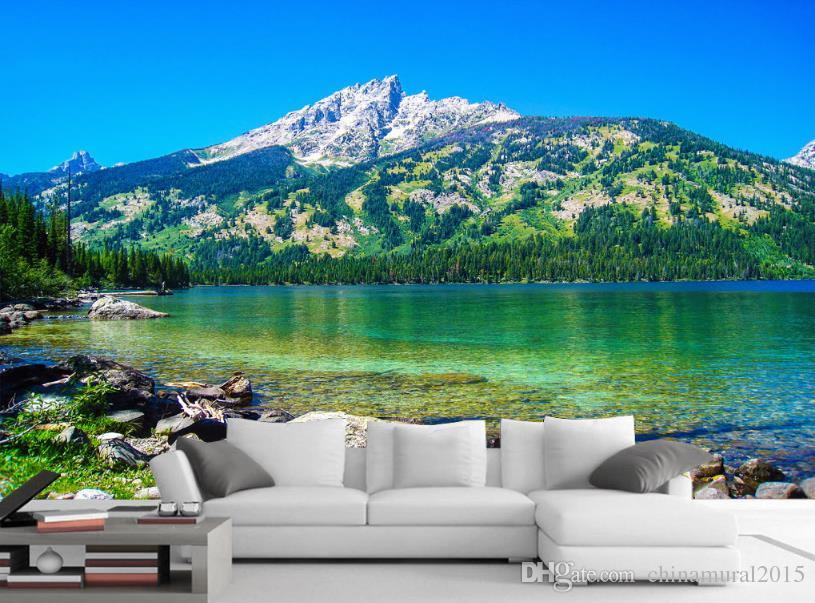 Fondo de pantalla personalizado 3 d para la sala Lake Mountains Forest 3d mural del paisaje wallpaper-roll-size