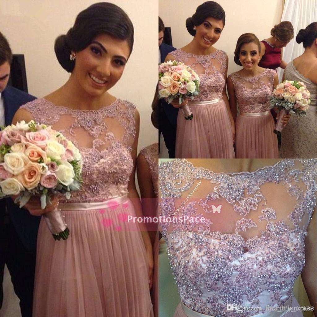 ModernCrew NeckSheer 2015 신부 들러리 드레스 레이스 쉬폰 플라이 티드 Aline Long Prom 저녁 파티 장식품 진주 정장 가운