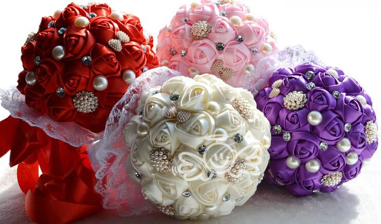 2015 Silk Rose Pearls Bridal Flowers Bouquets High Quality Handmade ...