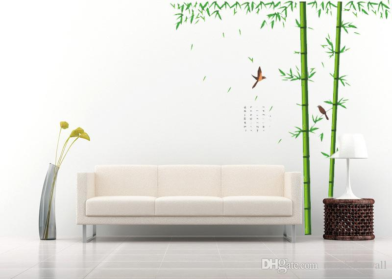 Vogels vliegen in de Bamboe Forest Wall Art Mural Decor Sticker Chinese Literatuur Bamboe Poëzie Muur Citaat Decal Sticker Classic Home Decor