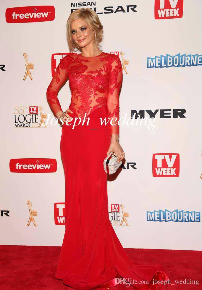 Suknie wieczorowe Samara Weaving 2016 Oscar Hot Red Carpet Zobacz przez czyste Długie Rękawy Koronki Sukienka Celebrity Dress Suknia Darmowa Wysyłka JSD029