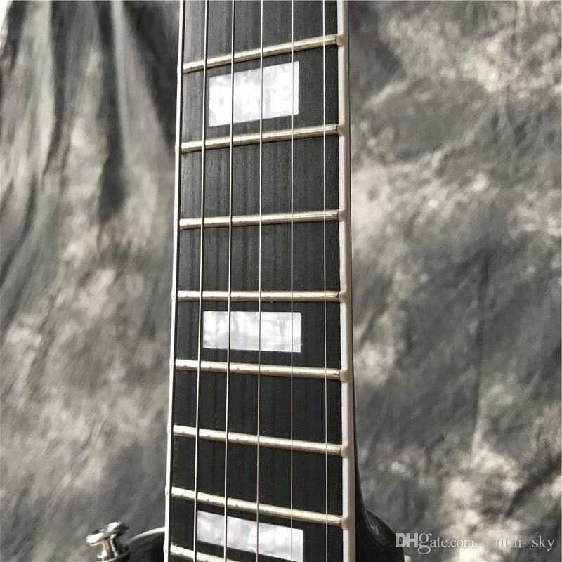 Nuovo arrivo vendita caldo custom shop chitarra elettrica finitura nera lucido tastiera in ebano con tasti end binding, con hardware cromato