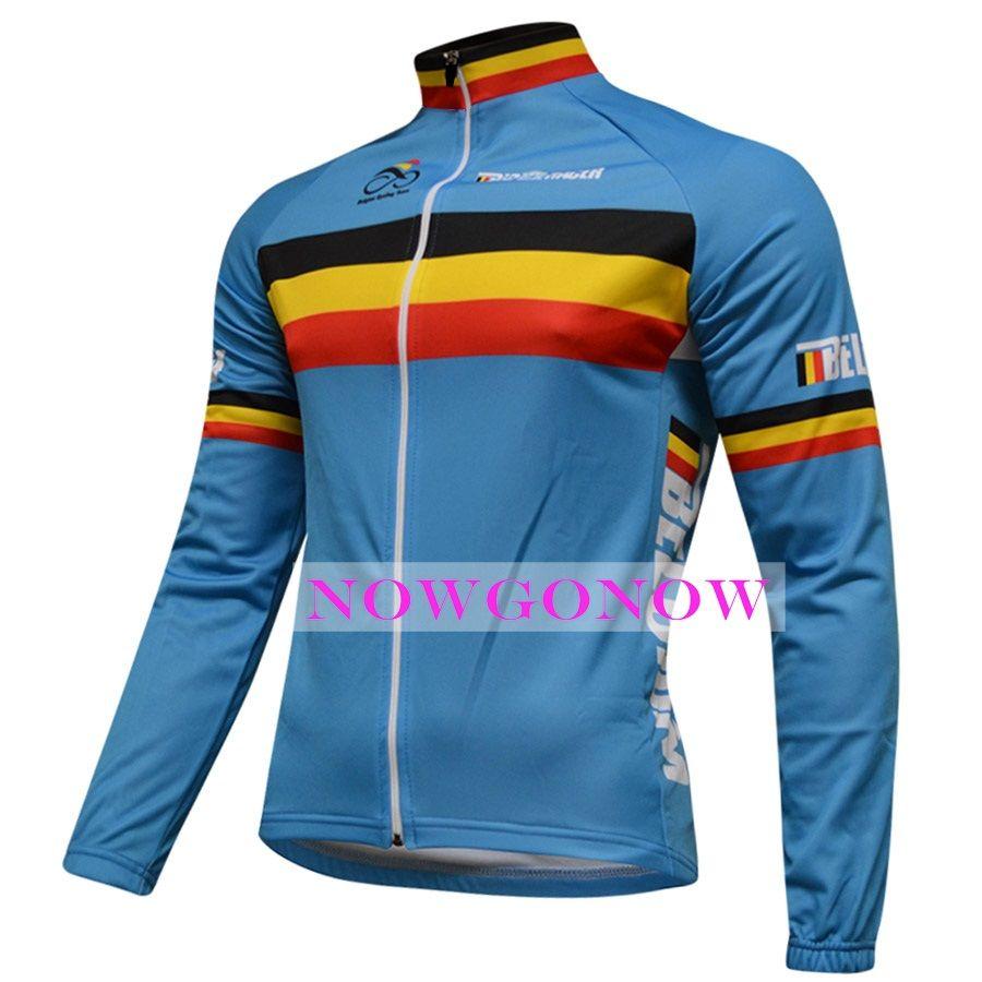 2016 maillot cycliste Belgique vêtements à manches longues vêtements de vélo vêtements usure VTT route ropa ciclismo NOWGONOW hommes plein zip route montagne été