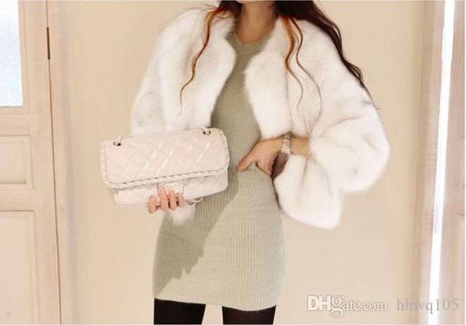 Women White Black Faux Fur Coat Ladies Crew Neck Long Sleeve Fur Parka Jacket Winter Warm Cardigan Overcoat S-2XL CJD0815