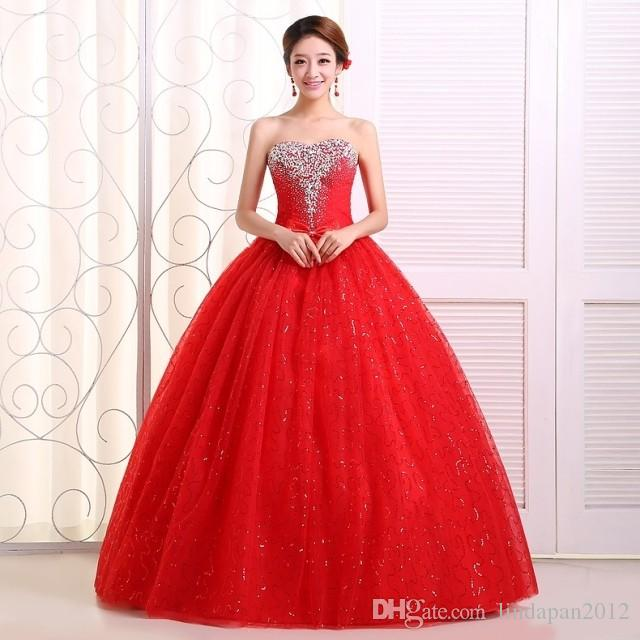 Red And White Ball Gown Wedding Dress: White And Red Ball Gown Dress New 2015 Hot Fashion Girl