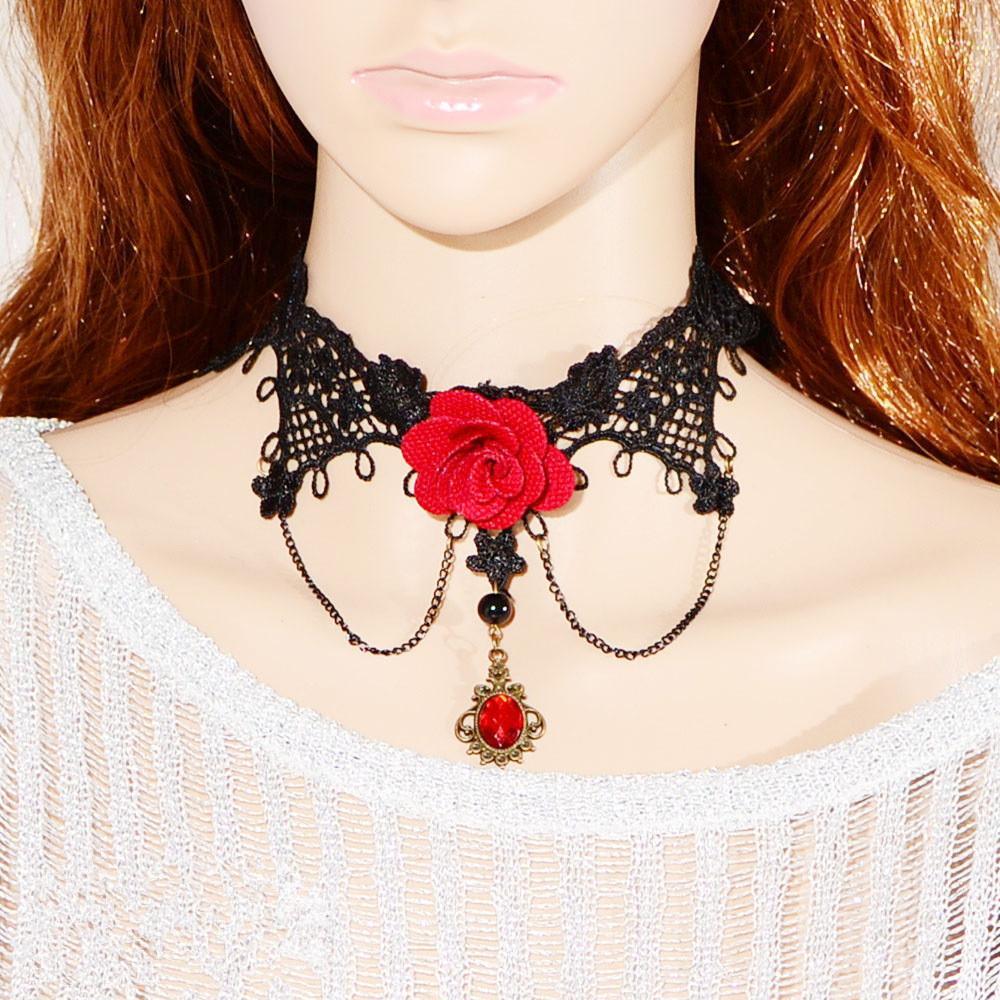 Mujeres Retro Gothic Lolita Encaje Negro Falso Piedras Preciosas Rosa Roja Collar Gargantilla Collar Suéter Cadena Clavícula Gargantilla