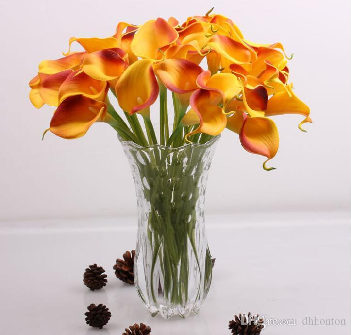 Latex calla lily pu flowers Bride Flowers PU Real Touch Yellow Mini Calla Lily For Wedding Bouquet HP008