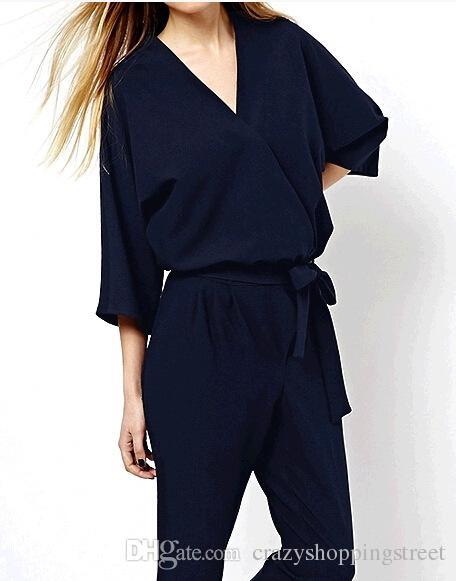 Moda Com Decote Em V três quartos manga macacão macacão Europa e América Nova marca ZA Básico vestidos preto marinha azul vestidos formais