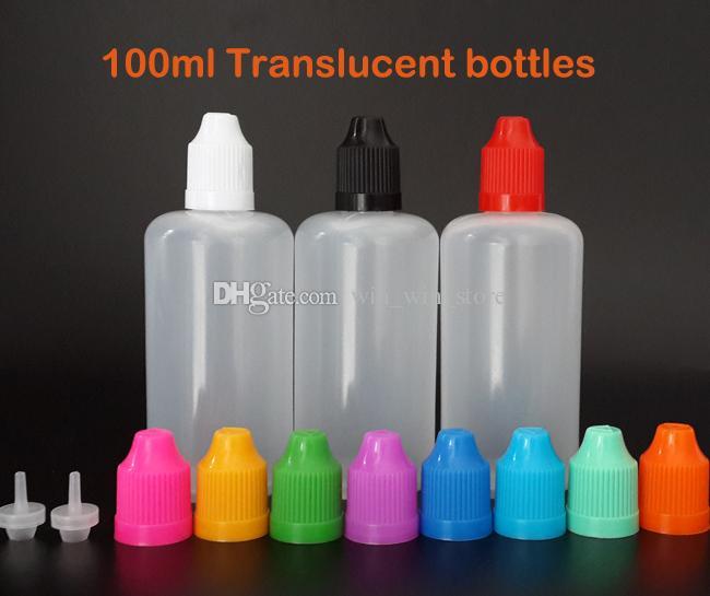 Envío rápido 100 ml Botella plástica con gotero vacío Botellas de LDPE Aguja Fácil de apretar con tapas de seguridad a prueba de niños y puntas largas y delgadas
