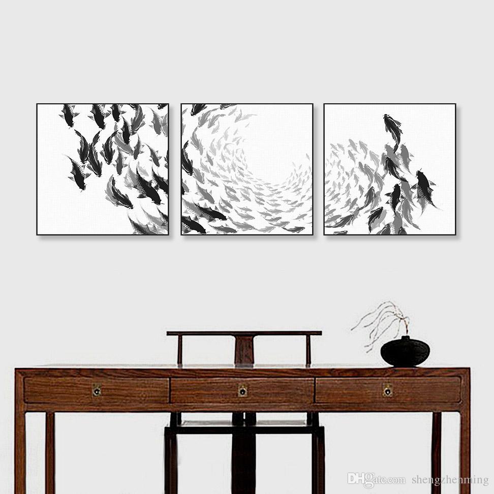 Best Modern Chinese Ink Oriental Black White Fish Canvas Art Print ...
