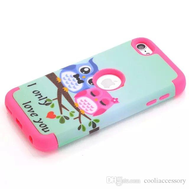 Hybrid Owl Branch Tree PC Hard Soft Silicone Rubber Case For Samsung Galaxy S6 Edge Ipod Touch 5 6 Iphone 5C Cartoon I Only Love you cover
