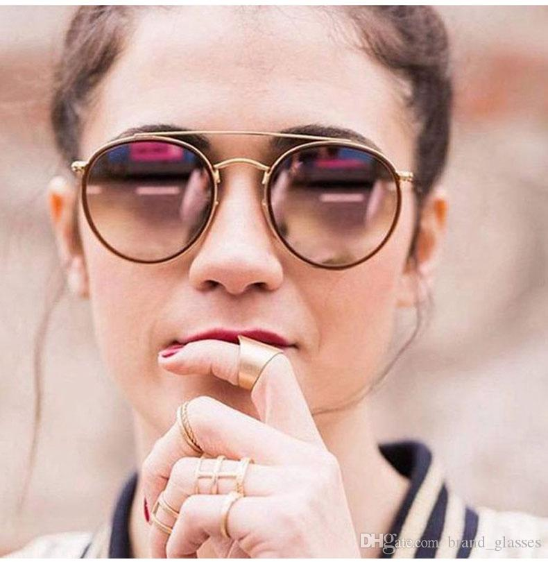Brand Designer Round Metal Sunglasses Men Women Steampunk Fashion Glasses Retro Vintage Sun glasses with free cases and box