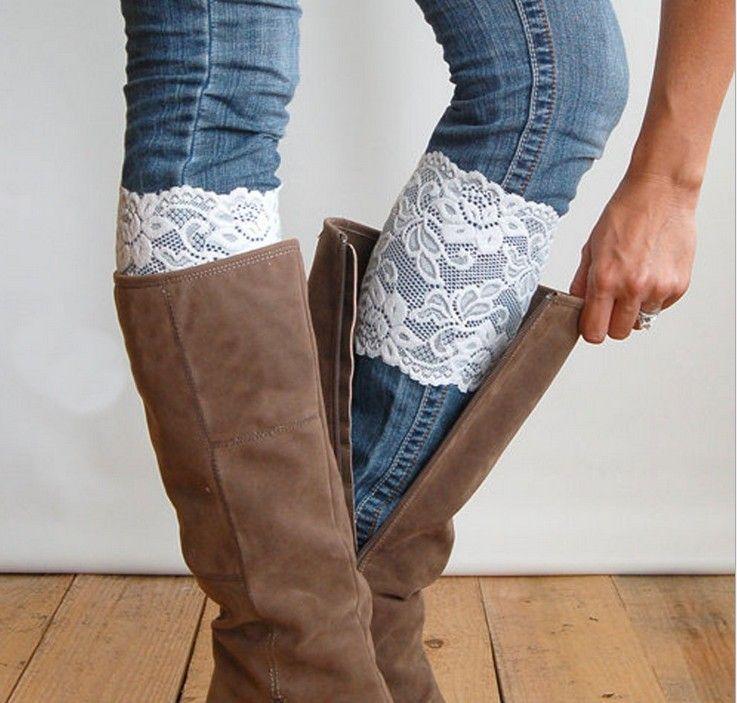 / Weihnachten Short Lace Stulpen Stiefel stricken häkeln Knie Stulpen Boot Manschetten Boot Toppers für Frauen Winter Boot Socken K6088