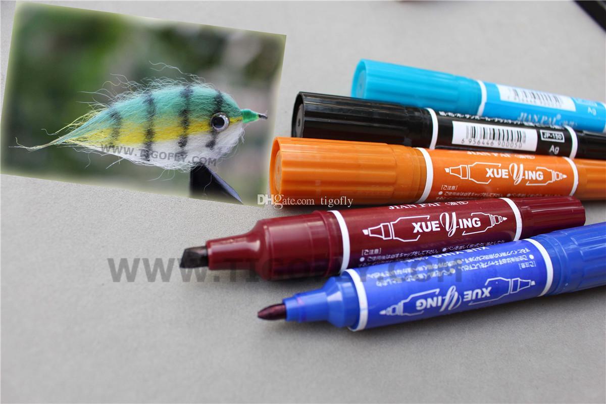 Tigofly 12 Цветов Fly Tying Двойная Головка Постоянный Водонепроницаемый Набор Маркерных Ручек Морская Рыбалка Fly Fishing Рисование Инструменты Fly Tying