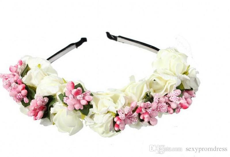 2018 été coloré plage mariage guirlande bohème bandeaux avec des fleurs multicolores guirlande florale mariée cheveux accessoires pas cher