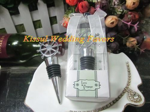2016 Newest Nautical-themed wedding favors of Ship's Wheel Wine Bottle Stopper Wedding gift for Bridal shower favor