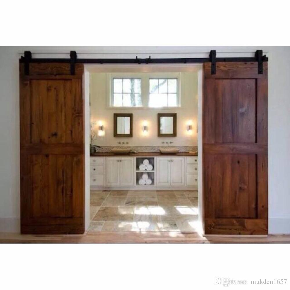 2018 12ft Antique Black Wooden Double Sliding Barn Closet Door ...