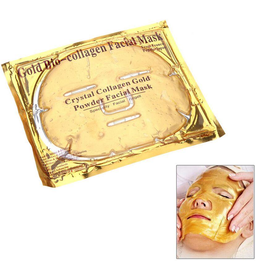 Gold Bio-Collagen Gesichtsmaske Gesichtsmaske Crystal Gold Powder Collagen Gesichtsmaske Feuchtigkeitsspendende Anti-Aging Whitening Gold Gesichtsmasken Geschenke