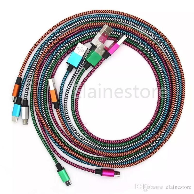 Typ C USB 3.1 für S20, Note20 Stoff Nylon-Braid-Micro-USB-Kabel-Blei-Blei-ununterbrochenes Metallverbinder-Ladegerät für Android-Telefon