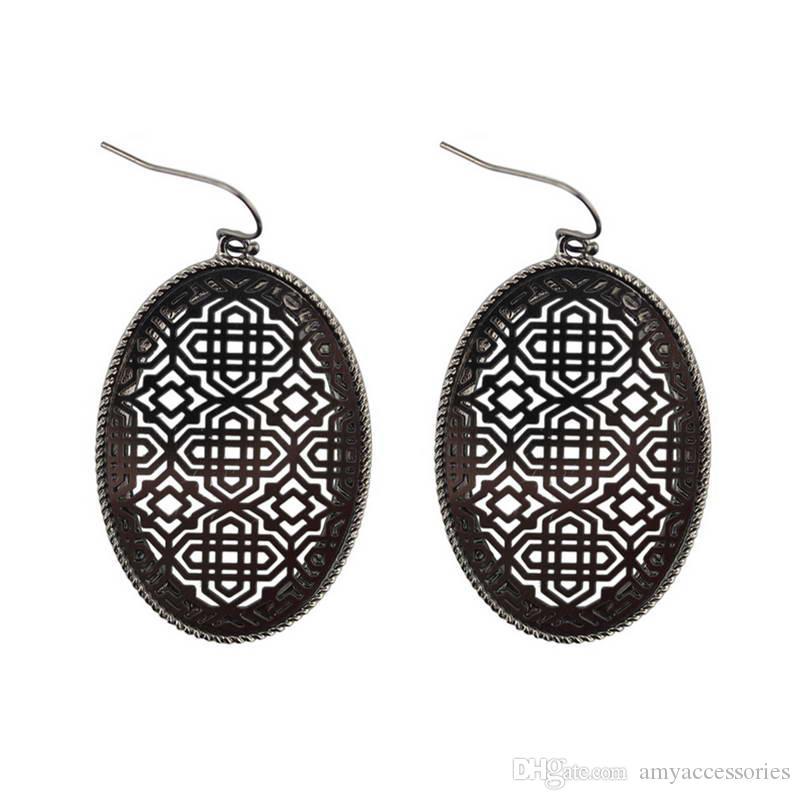 Heißer Verkauf Boutique Filigree Oval Drop baumeln Ohrringe zwei Tone filigrane Ohrringe für Frauen Mode filigrane Muster Erklärung Schmuck