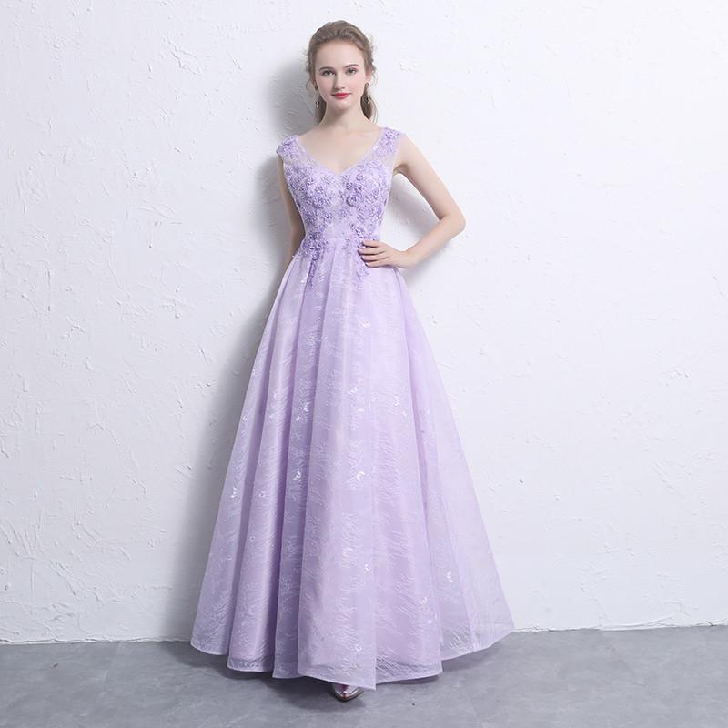 Evening Dress Elegant Light Purple V Neck Sleeveless Lace Up Back A ...