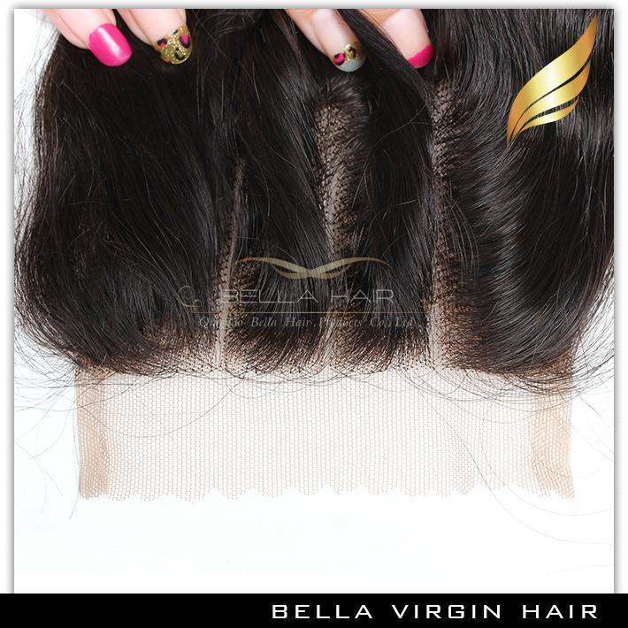Bella Hair® 8A Hair Bundles with Closure Brazilian Human Hair Extensions Human Hair Weft With Top Lace Closure Black Loose Wave Bundles