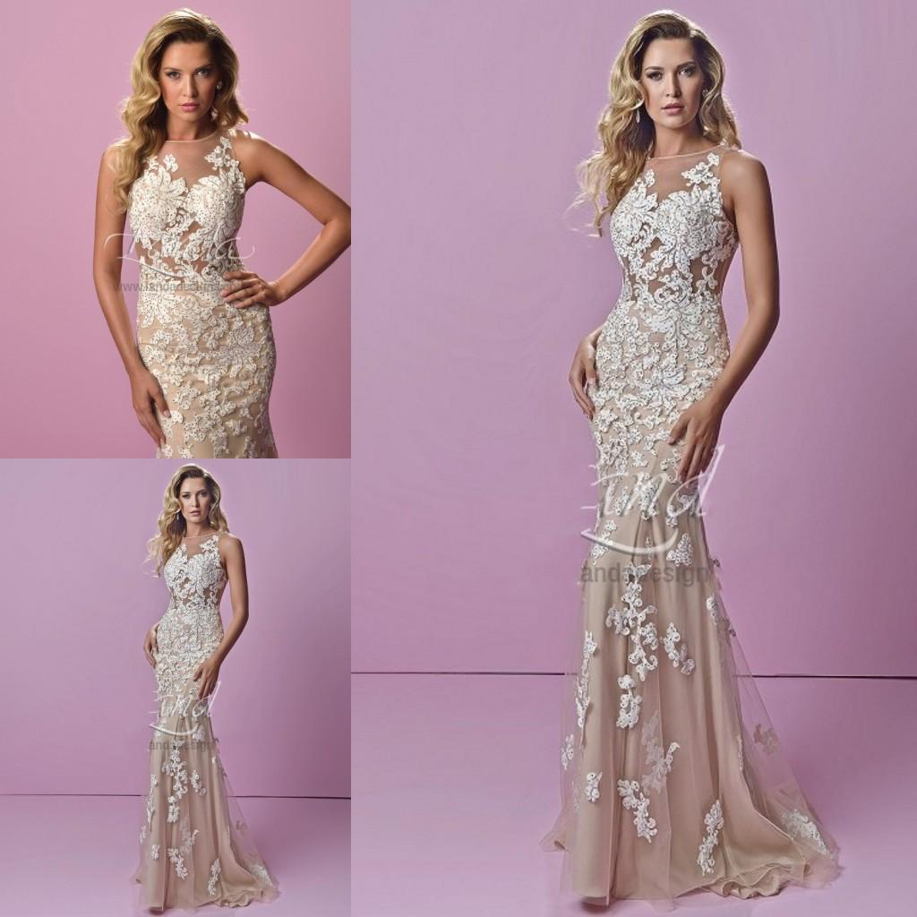 Top Designer 2015 Sexy Evening Dresses Uk Crew Neck Champagne With ...