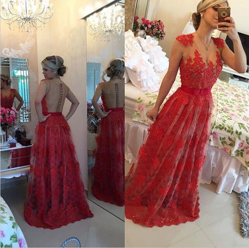 V-cou Appliques Robes De Bal Rouge Dentelle Perlé Bouton Dos-parole longueur Real A-ligne Sheer Cou Dernières Robes De Soirée Robes