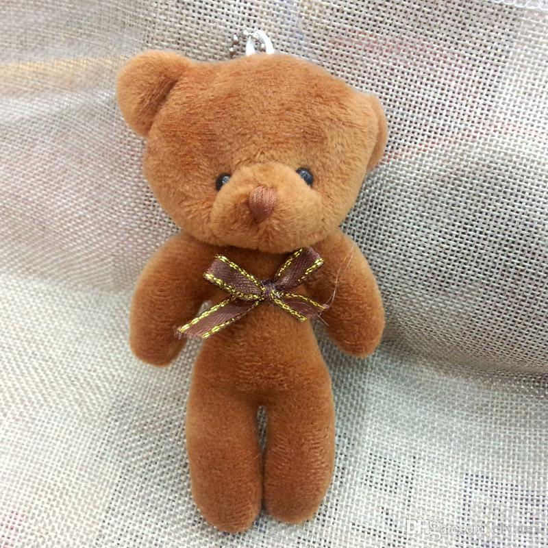 Bulk 12cm Stuffed Animals Plush Mini Teddy bear With Bow Mini Urso De Pelucia Oso Promotional gifts