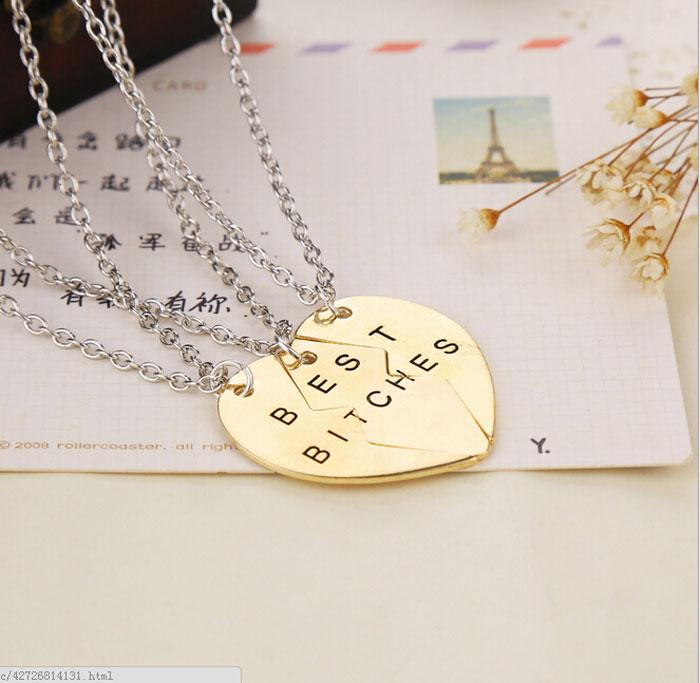Vintage guld / silver bästa tikar två / tre del av hjärtat kärlek hänge halsband för par gratis frakt