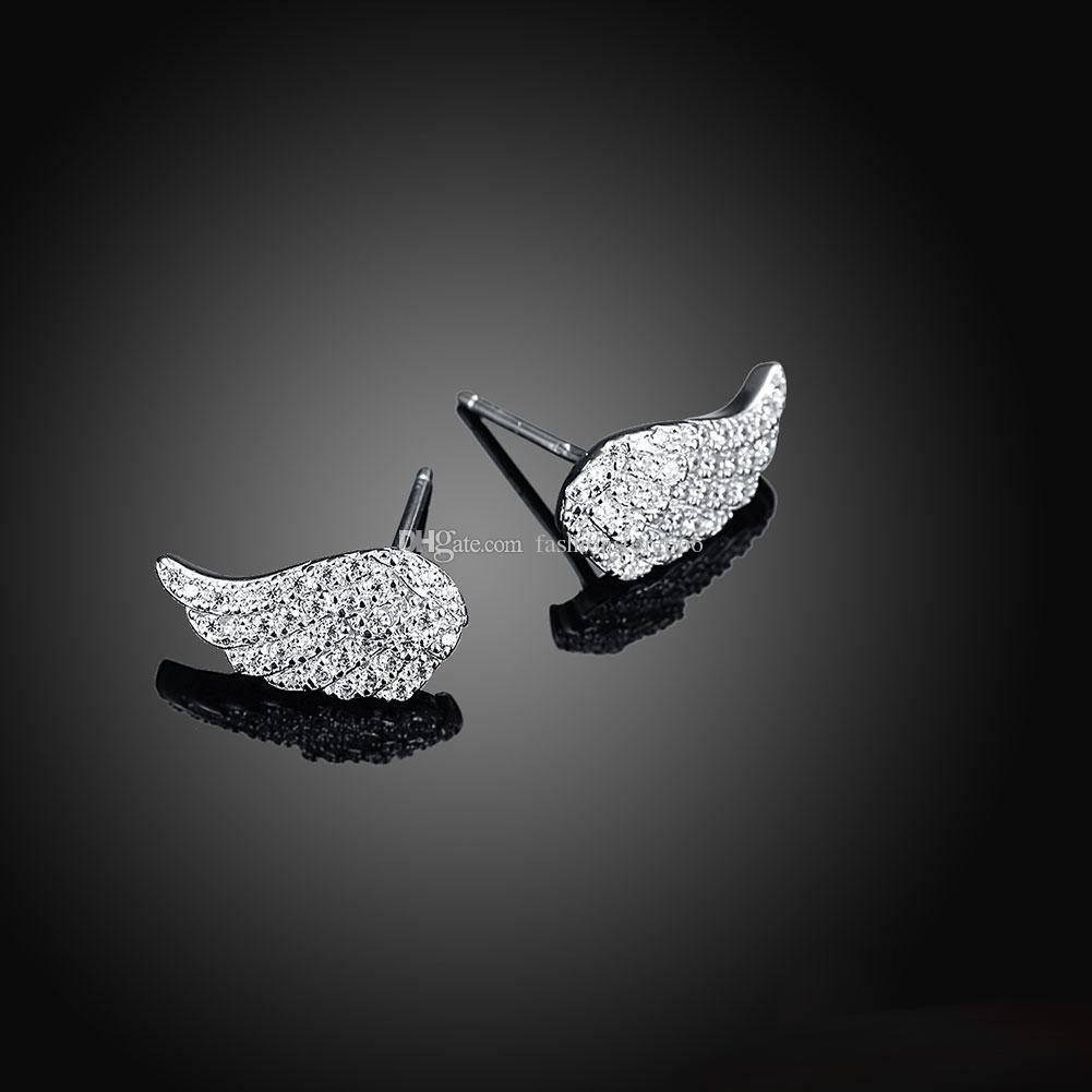 Luxury Angel Wings Full Clear Zircon 100% Authentic 925 Sterling Silver Stud Earrings for Women Female Jewelry Fine Craft Earrings Wholesale