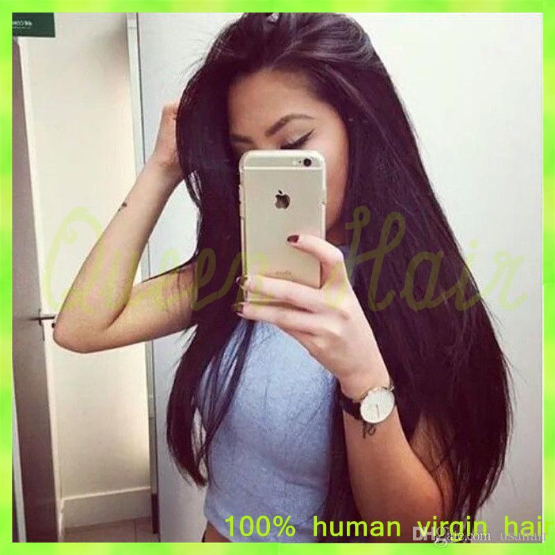 Italian Yaki Full Lace Wig Brazilian Virgin Human Hair Lace Front Wigs With Baby Hair Long Italian Yaki Lace Front Ponytail Wigs