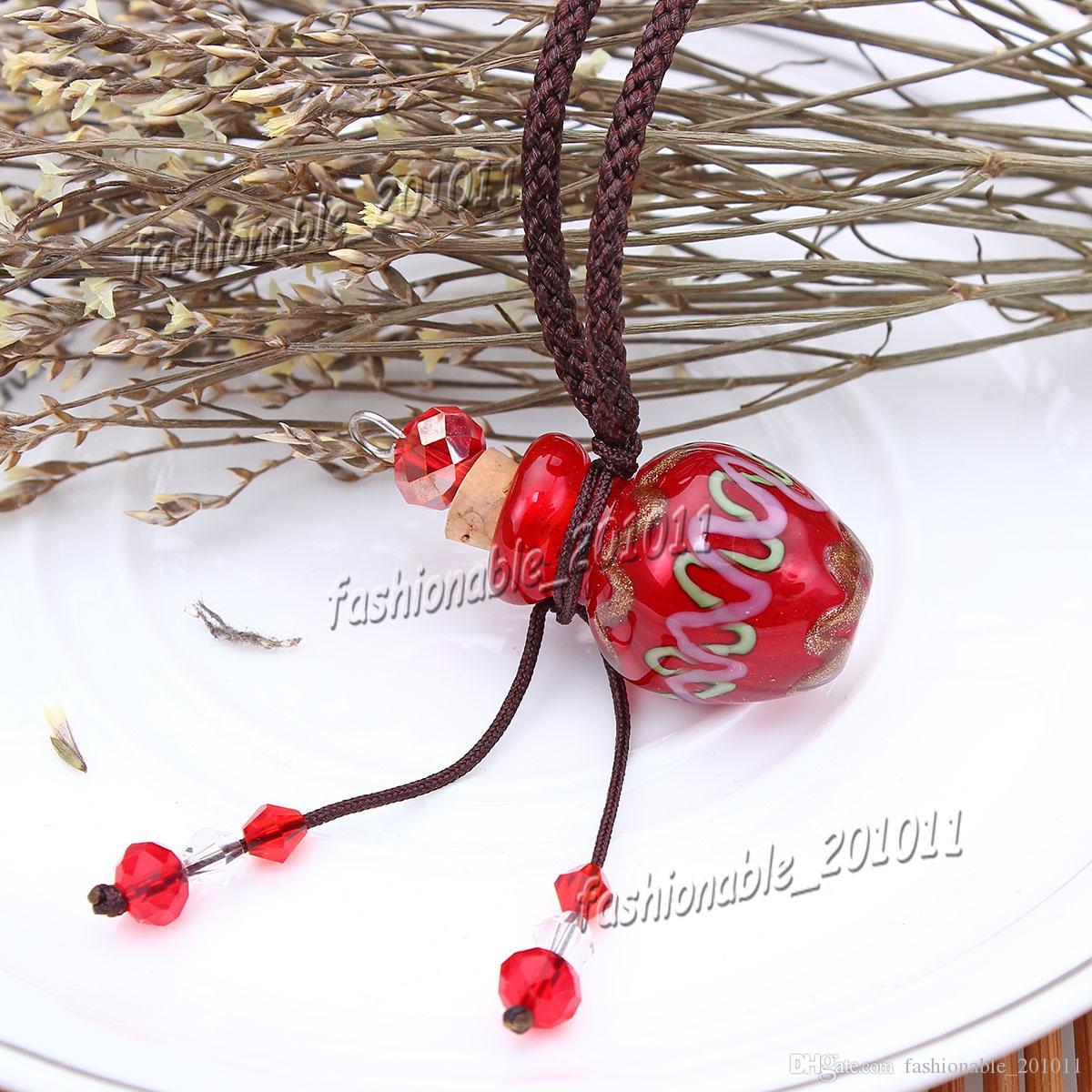 Vidrio difusor de aceites esenciales collares flores vial collar colgante de aromaterapia colgante botella perfume vintage colgante collar ob17