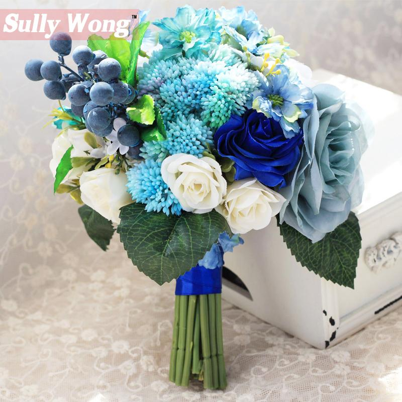 Sully Wong 2017new Silk Flower Wedding Bouquet Blue Romantic Roses ...