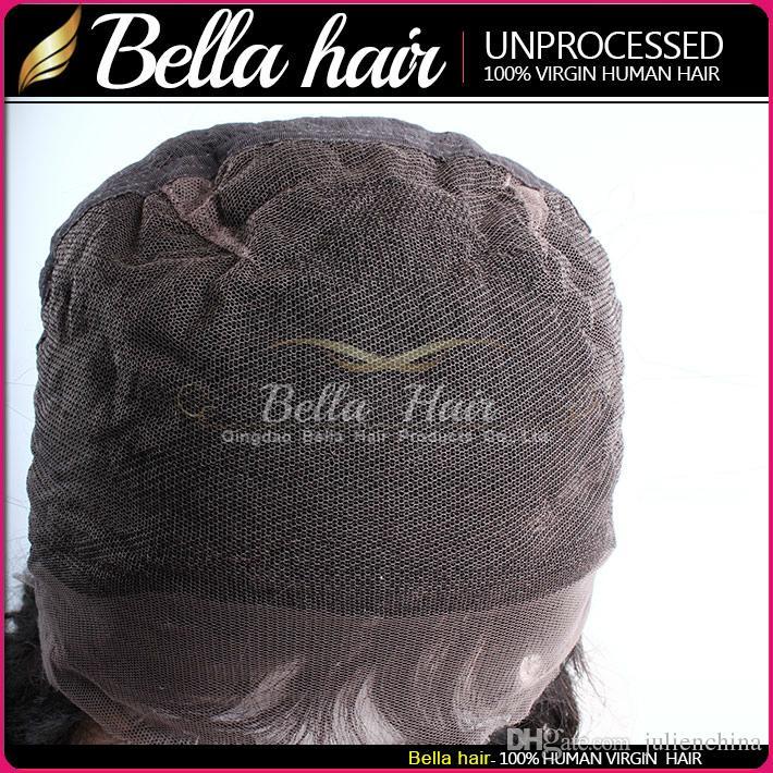 Перуванские парики для волос Полные кружевные парики 100% человеческие волосы волнистые натуральные черные цветные огромные кружевные парики бесплатная доставка Bella волос