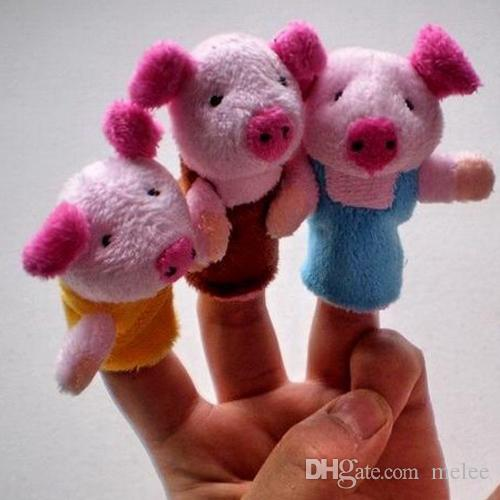 Fairy Tale The Three Little Pigs Finger Puppets Kids Baby Cute Play Storytime Velvet Plush Toys Assorted Animals