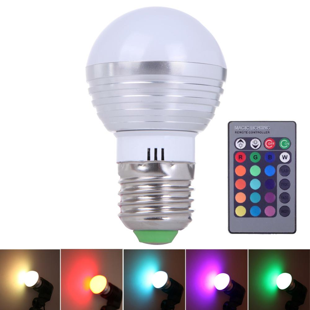 E27 Led Rgb 3w Change Lamp Light Bulb 24 Key Ir Remote