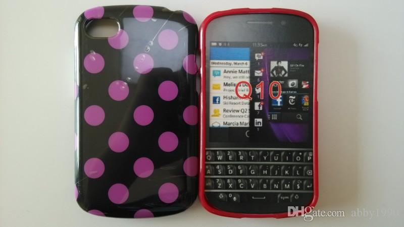 Wholesale Hot Polka Dots Macio TPU Gel Tampa Do Telefone Caso para Blackberry Q10 Frete Grátis