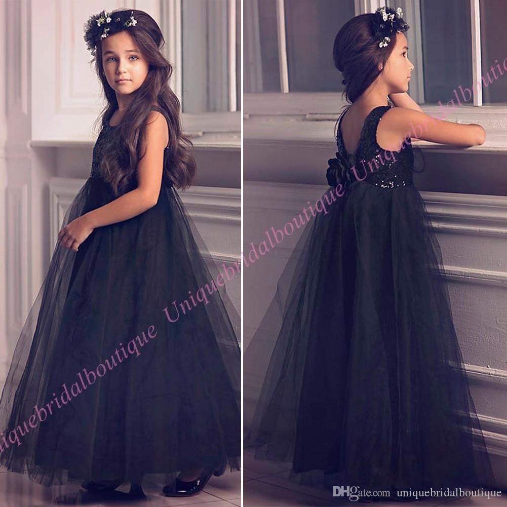 Sequins Girls Formal Evening Party Dresses 2018 With Flowers & V ...