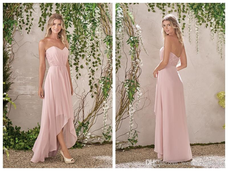 3b89ff25e2 2018 Bridesmaid Dresses Blush Chiffon Jasmine Prom Dresses Wedding Guest  Dress Bridesmaids Dresses Lace Sweetheart Backless Custom Made
