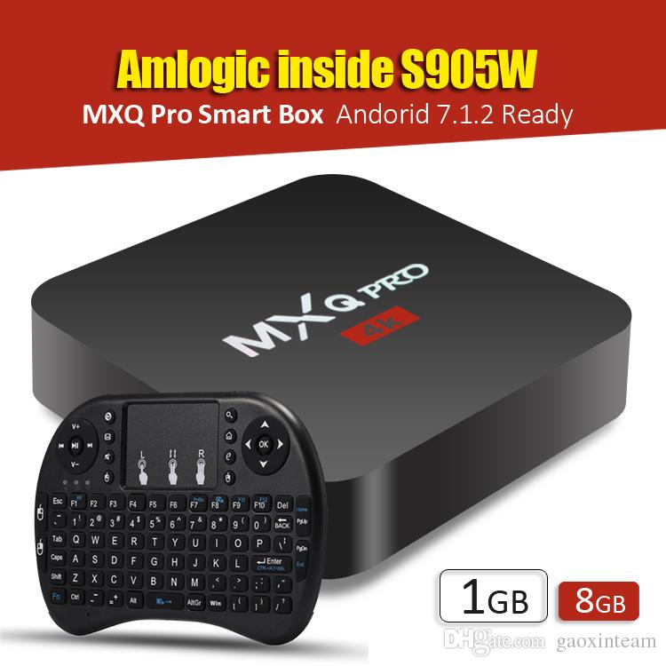 MXQ PRO TV Box Amlgoic S905W Android 7.1 TV BOX With Wireless Mouse Key Board Quad Core 4K Media Player