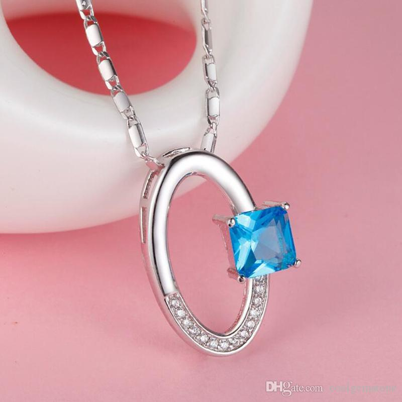 Blue Topaz Crystal 925 Silver Nacklaces Pendants Genuine red gemstone CP0274