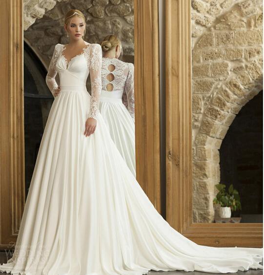 Custom Made V Neck Lace Top Plain Satin Elegant Long: 2015 Elegant Cinderella V Neck Sheer Lace Long Sleeve Ball