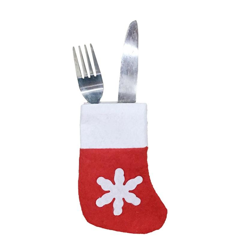 New Year Dinner Table Cutlery Set Knife Fork Pocket Christmas Decoration for home Silverware Holder Christmas mini socks Ornament