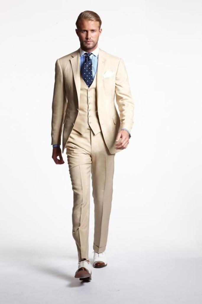 The Latest Hot Selling Two Buttons Cream Colored Groom Wedding ...