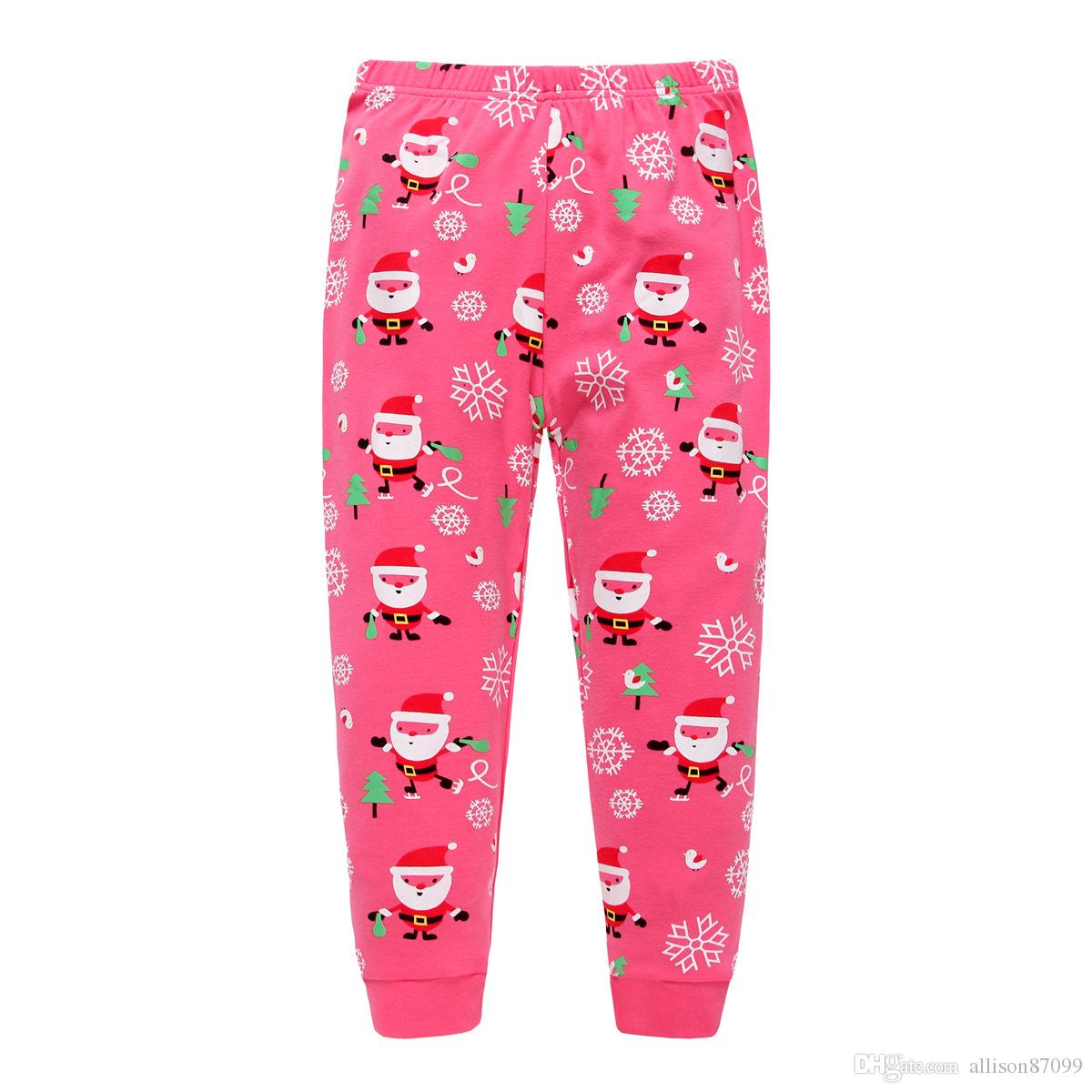 Hotsale Christmas Pajamas for Baby girls Santa clause Nightwear Pyjamas set 100%Cotton Sleepwear homewear 2017 Autumn Winter wholesale