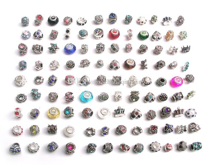 Ücretsiz kargo 100 adet / grup mix tarzı renkli rhinestone metal big hole boncuk kristal cam charms fit Avrupa DIY bilezik takı DIY