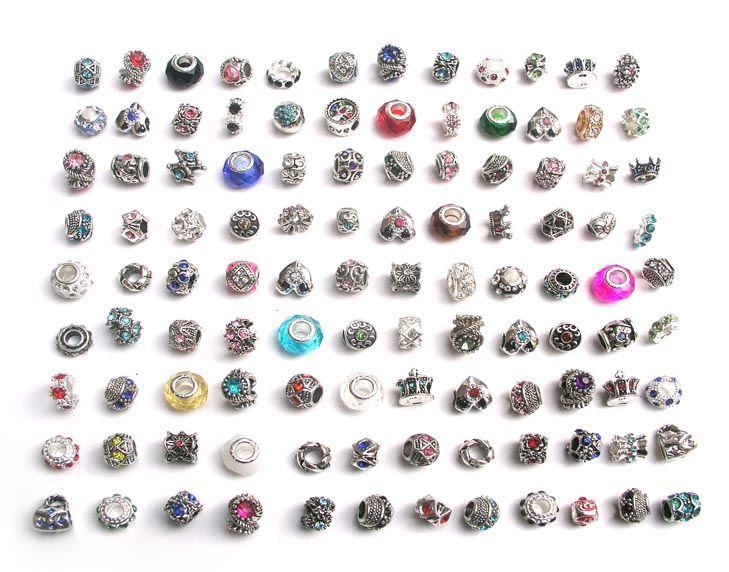 Envío gratis 100 unids / lote mezcla estilo colorido rhinestone metal gran agujero granos encantos de cristal de cristal ajuste europeo DIY pulsera joyería DIY