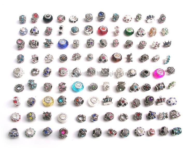 Il trasporto libero 100 pz / lotto mix stile colorato strass metallo grande foro perline di cristallo charms misura gioielli fai da te braccialetto europeo fai da te
